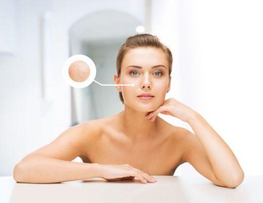 美しさと肌ケア コンセプト - 乾燥肌の例と美しい女性の顔